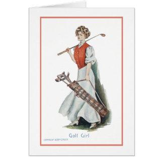 Feliz cumpleaños para un golfista de la mujer tarjeta pequeña