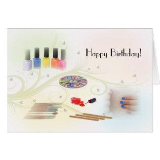 Feliz cumpleaños para un manicuro tarjeta de felicitación