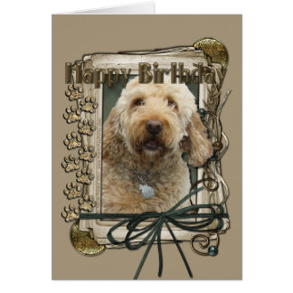 Feliz cumpleaños - patas de piedra - GoldenDoodle Tarjeta De Felicitación