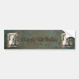 Feliz cumpleaños - patas de piedra - montaña del pegatina para auto