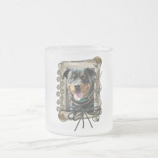 Feliz cumpleaños - patas de piedra - Rottweiler Taza De Cristal