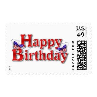 Feliz cumpleaños patriótico con las mariposas franqueo
