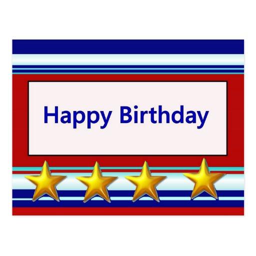 Feliz cumpleaños patriótico postales