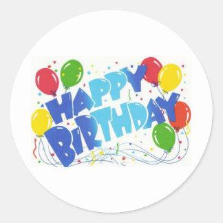 Feliz cumpleaños pegatinas redondas