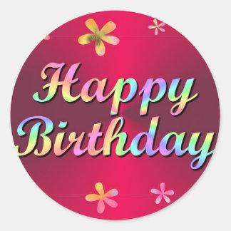Feliz cumpleaños pegatina redonda