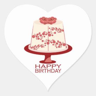 Feliz cumpleaños pegatina en forma de corazón