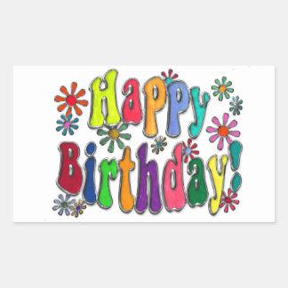 Feliz cumpleaños pegatina rectangular