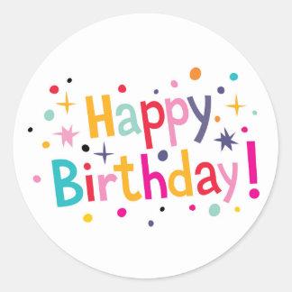 ¡Feliz cumpleaños! Pegatina redondo