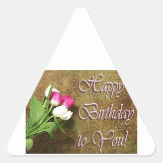 Feliz cumpleaños pegatina triangular