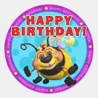 ¡Feliz cumpleaños! Pegatinas con BeeWee Etiquetas Redondas