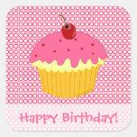 ¡Feliz cumpleaños! Pegatinas rosados de la Pegatina Cuadradas