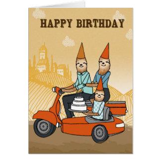 Feliz cumpleaños - perezas que montan un Ca de Felicitación