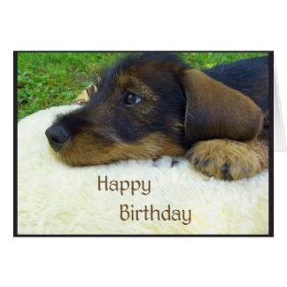 Feliz cumpleaños, perrito lindo del Dachshund Tarjeta De Felicitación