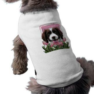 Feliz cumpleaños - perro de aguas de saltador ingl camiseta de perro