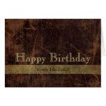 Feliz cumpleaños personalizado de Brown/del oro Tarjeta