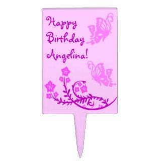 Feliz cumpleaños personalizado de las mariposas palillos de tarta