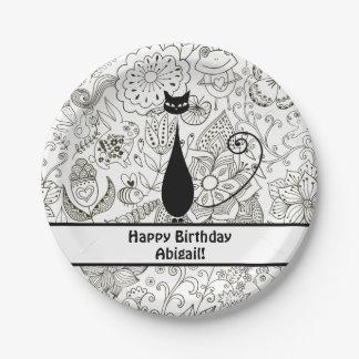 Feliz cumpleaños personalizado del gato blanco y plato de papel de 7 pulgadas