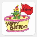 Feliz cumpleaños personalizado pegatina cuadradas personalizada