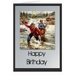 Feliz cumpleaños - pesca en el río tarjeta