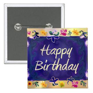 Feliz cumpleaños pin cuadrado