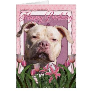 Feliz cumpleaños - Pitbull - chica del jersey Tarjeta De Felicitación