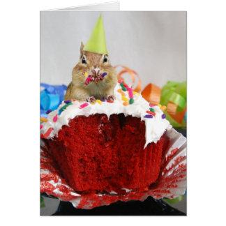 Feliz cumpleaños poco Chipmunk, escribiendo dentro Tarjeta De Felicitación