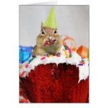 Feliz cumpleaños poco Chipmunk Tarjetón