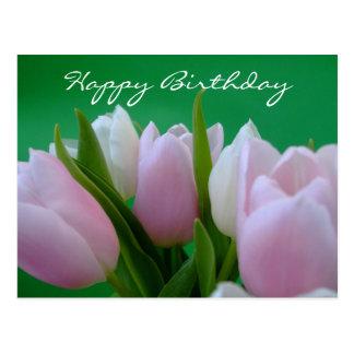 Feliz cumpleaños - postal de los tulipanes