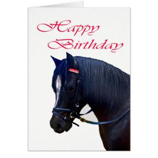 Feliz cumpleaños, potro galés negro tarjeta de felicitación