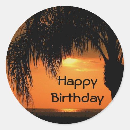 Feliz cumpleaños, puesta del sol de la palmera etiquetas