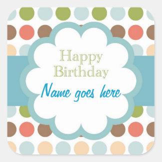 Feliz cumpleaños (puntos del poka) pegatina cuadrada