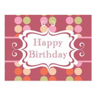 Feliz cumpleaños puntos del poka tarjetas postales