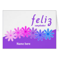 Feliz cumpleaños purple flowers personalized card