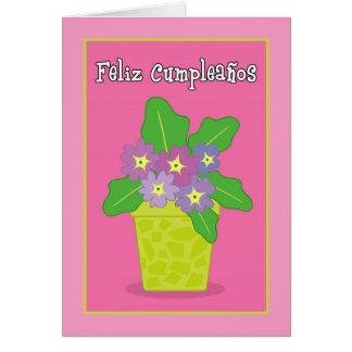 Feliz Cumpleanos Purple Violet Greeting Card