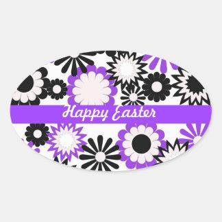 Feliz cumpleaños púrpura blanco y flores del ne pegatinas ovaladas personalizadas