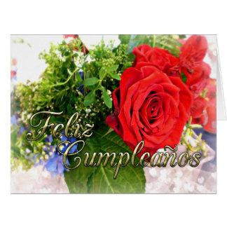 Feliz Cumpleanos Red Rose Bouquet Greeting Card