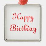 Feliz cumpleaños. Rojo y blanco. Personalizado Ornamentos De Reyes Magos