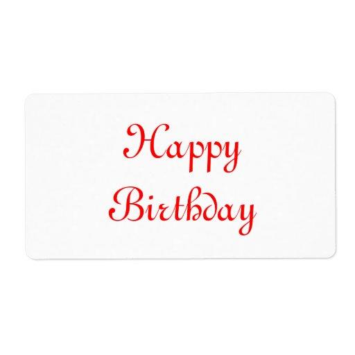 Feliz cumpleaños. Rojo y blanco. Personalizado Etiqueta De Envío