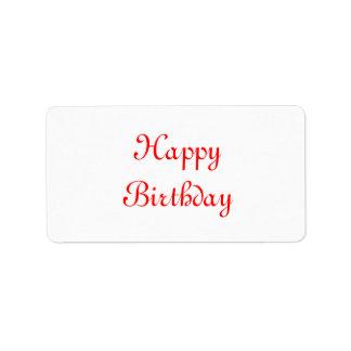 Feliz cumpleaños. Rojo y blanco. Personalizado Etiqueta De Dirección