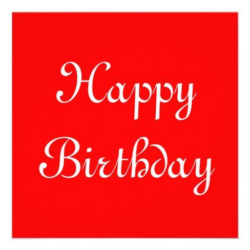 Feliz cumpleaños. Rojo y blanco. Personalizado Invitaciones Personalizada