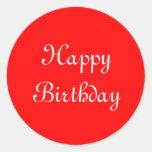 Feliz cumpleaños. Rojo y blanco. Personalizado Pegatinas Redondas