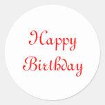 Feliz cumpleaños. Rojo y blanco. Personalizado Etiqueta Redonda