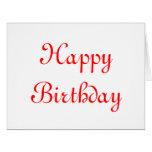 Feliz cumpleaños. Rojo y blanco. Personalizado Felicitaciones