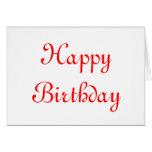 Feliz cumpleaños. Rojo y blanco. Personalizado Tarjeton
