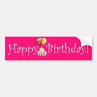 ¡Feliz cumpleaños! (Rosa) Pegatina De Parachoque