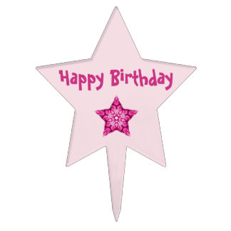 Feliz cumpleaños rosado figuras de tarta