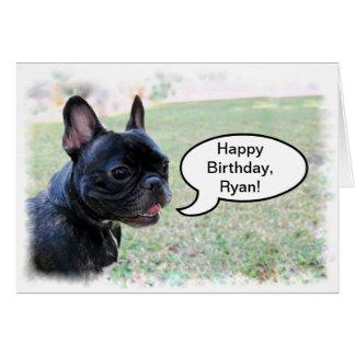 Feliz cumpleaños, Ryan, tarjeta del dogo francés