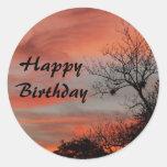 Feliz cumpleaños, salida del sol rosada con el pegatina redonda