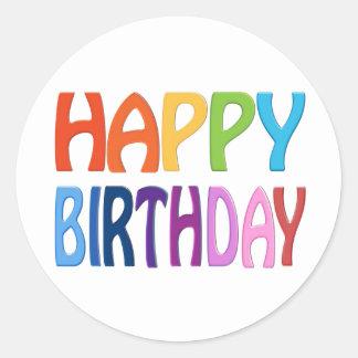 Feliz cumpleaños - saludo colorido feliz pegatina redonda