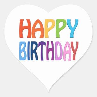 Feliz cumpleaños - saludo colorido feliz pegatina en forma de corazón